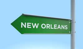 Green signpost new orleans Stock Photo