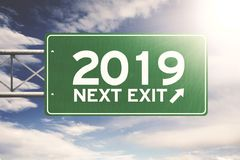 Green signpost with numbers 2019 stock images