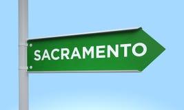 Green signpost sacramento Stock Photo