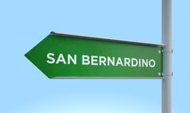 Green signpost san bernardino Royalty Free Stock Photo