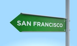 Green signpost san francisco Royalty Free Stock Photography