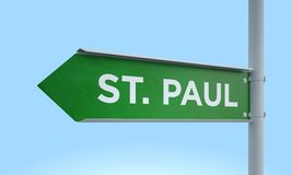 Green signpost st. paul Stock Photo