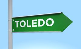 Green signpost toledo Stock Photography