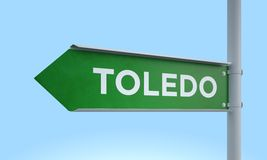 Green signpost toledo Royalty Free Stock Images