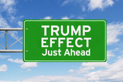 Green signpost with Trump Effect word Stock Image