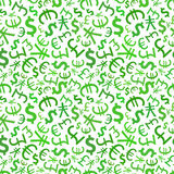 Green signs of world currencies on white, seamless Royalty Free Stock Photos