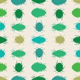 Green silhouette beetles on a cream background. A seamless vector repeat of bugs in rows. vector illustration