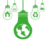 Green silhouette with bulb lights with recycling symbols Royalty Free Stock Photos