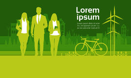 Green Silhouette Businesspeople Group Over City Background Business Man And Woman Team. Vector Illustration vector illustration