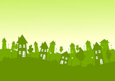 Green silhouette city houses skyline. Green skyline with suburban houses, trees and lamps silhouettes. Real estate concept Stock Illustration