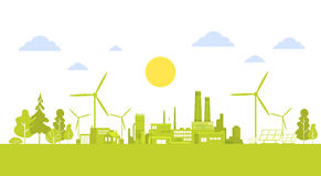 Green Silhouette City With Wind Turbine Clean Nature Ecology Environment Concept. Flat Vector Illustration royalty free illustration