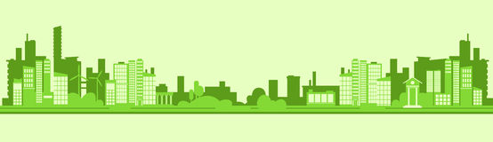 Green Silhouette Eco City Flat Vector. Illustration Royalty Free Stock Images