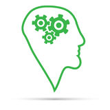 Green silhouette of the head, brain Stock Images