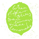 Green silhouette of lemon or lime on white background Royalty Free Stock Photos