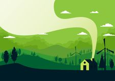 Green silhouette nature landscape with rural scenery abstract ba. Ckground.Vector illustration Stock Photos