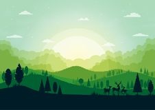 Free Green Silhouette Nature Landscape With Forest And Mountains Abstract Background. Stock Image - 115265591