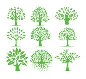 green silhouette tree vector logo design set