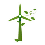 Green silhouette wind power generator with leaves Royalty Free Stock Image