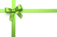 Green silk bow. Green silk ribbon with bow royalty free stock image