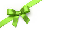 Green silk bow. Green silk ribbon with bow royalty free stock images