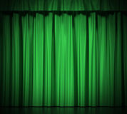 Green silk curtains with garter isolated on white background. 3d illustration High resolution Stock Image