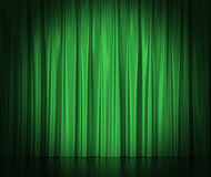 Green silk curtains for theater and cinema spotlit light in the center. 3d illustration Royalty Free Stock Images