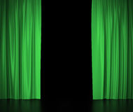 Green silk curtains for theater and cinema spotlit light in the center. 3d illustration Royalty Free Stock Image
