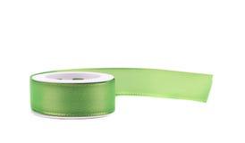 Green silk decorative ribbon. Royalty Free Stock Photos