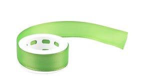 Green silk decorative ribbon. Stock Images