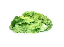 Green silk isolated on a white Royalty Free Stock Photos