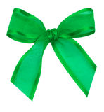 Green silk ribbon knot Royalty Free Stock Photos
