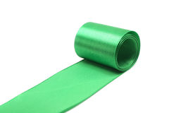 Green silk ribbon Royalty Free Stock Photography