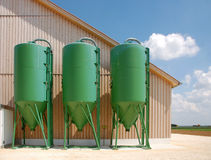 Green silos Royalty Free Stock Image
