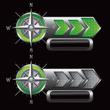 Green and silver checkered arrows with compass Royalty Free Stock Photos