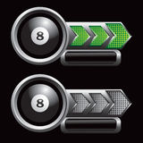 Green and silver checkered arrows with eight ball Stock Image