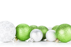Green and silver christmas baubles Royalty Free Stock Photo