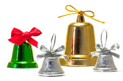 Green silver and gold bells with red silver and gold bow Stock Image