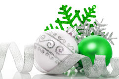Green and silver xmas decoration Royalty Free Stock Image