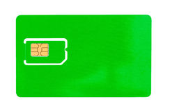 Green SIM card for a mobile phone with an empty space Royalty Free Stock Image