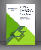Green simple flyer with geometric planes. Stock Photos