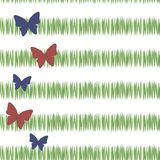 Green simple green grass stripes postcard freshness tea vegetation with red and blue butterflies vertically with the left edge iso. Green simple green grass vector illustration