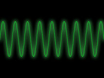 Green sine wave. Straightforward illustration of green sine wave with glow effect against dark background Stock Photo