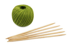 Green skein and knitting needles Stock Image