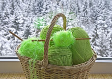 Skeins in basket Royalty Free Stock Photos