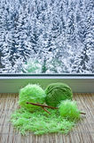 Green skeins are on the windowsill Royalty Free Stock Photography