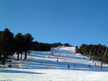 Green ski run. Ski run at French Pyrenees resort of Font Romeu, One of the many green runs at this location Stock Photos