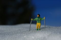 Green skier Royalty Free Stock Photos