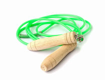 Green skipping rope. Stock Photos