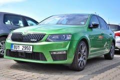 Green Skoda Octavia RS Stock Photos