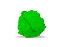 Green skrynklig paper boll Arkivfoto